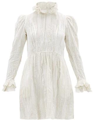 Batsheva Crystal-button Ruffled Cotton-velvet Mini Dress - Womens - Ivory