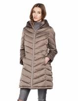 Otterline Women's Regular-fit Mid-Length with Full Length Zip Chevron Puffer Coat Gold M