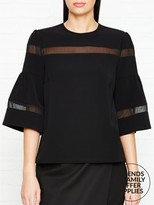 DKNY Mesh Insert Short Sleeve Top