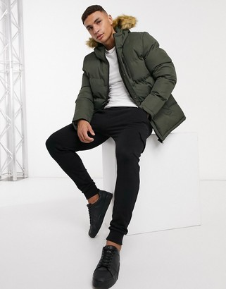 Threadbare quilted parka with faux fur hood and fleece lining in khaki