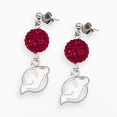 Logoart LogoArt New Jersey Devils Sterling Silver Crystal Ball Drop Earrings
