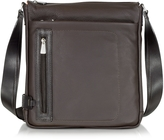 Chiarugi Dark Brown Leather Vertical Crossbody Bag
