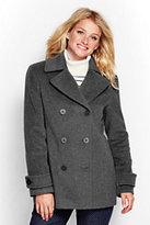 Lands' End Women's Luxe Wool Peacoat-Black