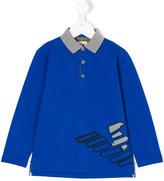 Armani Junior logo printed polo shirt - kids - Cotton/Spandex/Elastane - 4 yrs