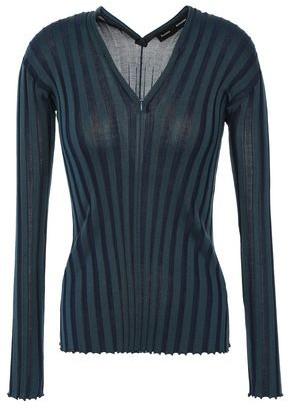 Proenza Schouler Zip-detailed Ribbed Silk-blend Top