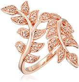 14k Plating Over Sterling Silver Diamond Leaf Shaped Ring (1/10cttw