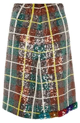 Ashish Bead-embellished Sequinned Plaid Skirt - Green Multi