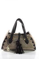 Giorgio Armani Brown White Pony Hair Striped Double Handle Satchel Handbag