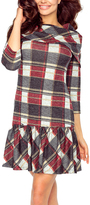 Red & Gray Plaid Drop-Waist Dress