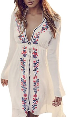 DEELIN Women V-Neck Long Sleeve Bandage Linen Autumn Cover Up Embroidery Vintage Swimwear Ladies Sexy Beach Dress White