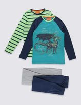 Marks and Spencer 2 Pack Dragon Print & Striped Pyjamas (6-16 Years)
