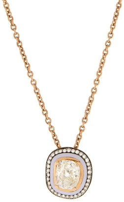 Selim Mouzannar Lilac Enamel Diamond Pendant Necklace