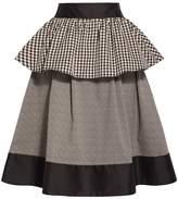 Isa Arfen Gingham Peplum Stripe Midi Skirt