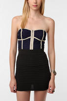 Coincidence & Chance Lace Zip-Front Strapless Top