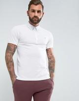 Farah Merriweather Slim Fit Pique Polo Shirt In White