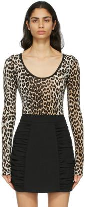 Ganni Brown and Black Leopard Bodysuit