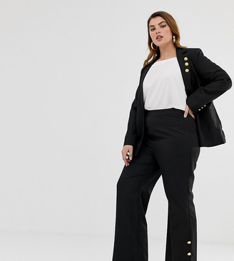 Unique21 Hero tailored high rise pants with gold buttons