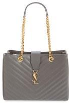 Saint Laurent 'Monogram' Grained Leather Shopper - Grey