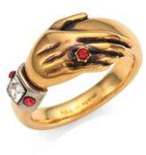 Alexander McQueen Crystal & Ruby Hand Ring