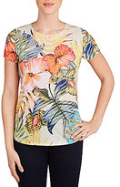 Allison Daley Wide Crew Neck Embellished Hibiscus Print Knit Top