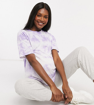 ASOS DESIGN Maternity oversized t-shirt in tie-dye in lilac