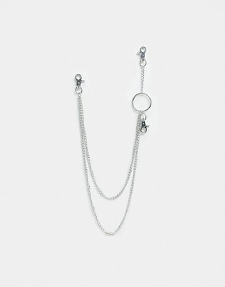 Vibe + Carter Vibe and Carter statement jean chain in silver with ring and spring detail exclusive to ASOS