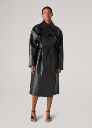 St. John Nappa Leather Belted Coat