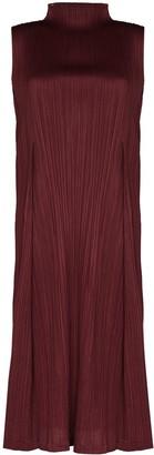 Pleats Please Issey Miyake High Neck Pleated Midi Dress
