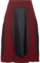 Maison Margiela Paneled Houndstooth Wool And Twill Midi Skirt - Red