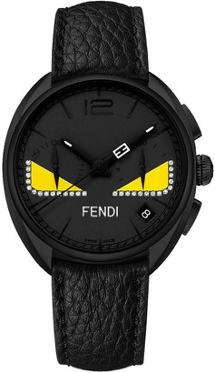 Fendi Men's 40mm Momento Bugs Chronograph Leather Watch w/ Diamonds