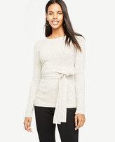 Ann Taylor Petite Belted Crewneck Sweater