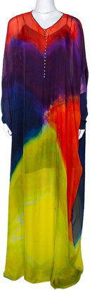 Roberto Cavalli Multicolor Dyed Ombre Silk Kaftan Dress L