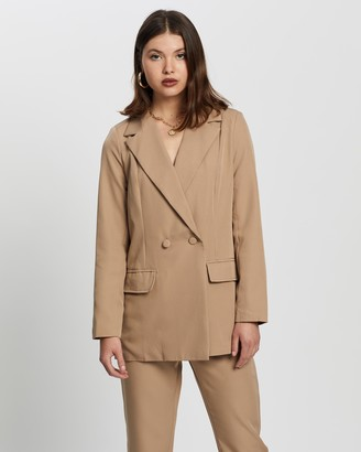 Missguided Women's Brown Blazers - Co Ord Longline Blazer - Size 6 at The Iconic