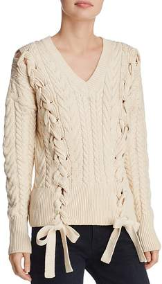 Do and Be Lace-Up Cable-Knit Sweater