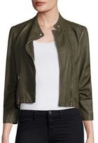 Rebecca Taylor Garment Washed Leather Moto Jacket