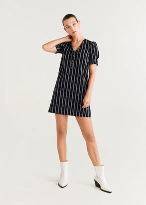MANGO Cord printed dress black - 2 - Women