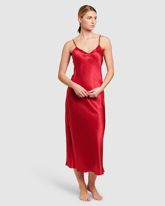 Ginia Women's Red Chemises - Silk V Neck Long Nite - Size One Size, 8 at The Iconic