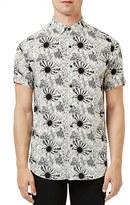 Topman Men's Trim Fit Sun Print Short Sleeve Woven Shirt