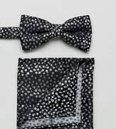 New Look Spotty Bow Tie And Pocket Square In Black