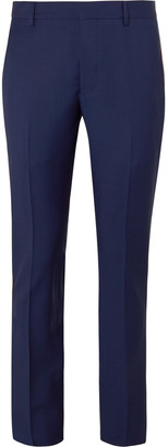 Prada Navy Slim-Fit Tapered Webbing-Trimmed Virgin Wool And Mohair-Blend Trousers