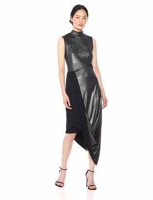 BCBGMAXAZRIA Azria Women's Metallic Draped Turtleneck Dress