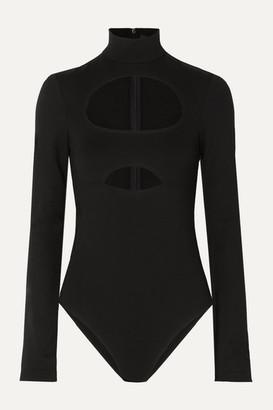 David Koma Cutout Cotton-jersey Bodysuit - Black