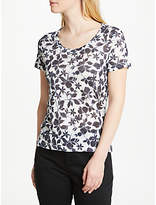 John Lewis Smudge Floral Print Jersey Top