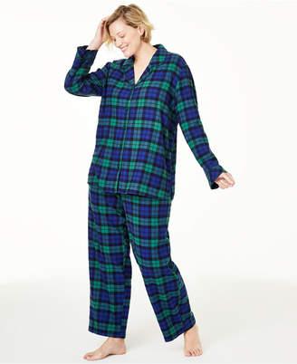 Matching Family Pajamas Plus Size Black Watch Plaid Flannel Pajama Set