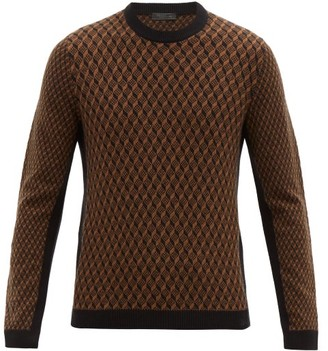 Prada Geometric Patterned Wool Blend Sweater - Mens - Black Brown