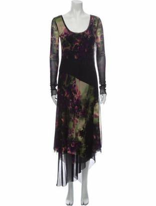 Fuzzi Floral Print Midi Length Dress Black