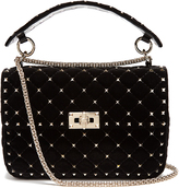 Valentino Rockstud Spike quilted-velvet shoulder bag