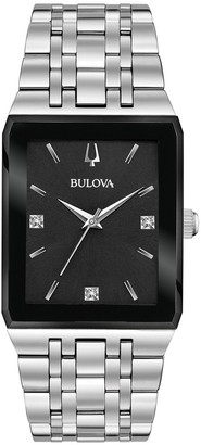 Bulova Men's Quadra Stainless Diamond Accent Watch