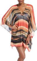 Carmen Marc Valvo Pacific Sunset Kimono-Sleeve Printed Chiffon Dress with Metallic