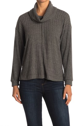 Lush Ribbed Cowl Neck Top